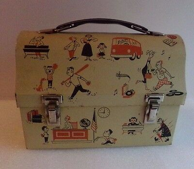 Vintage Dome Lunch Box Metal Class School Scenes Band American Thermos Products