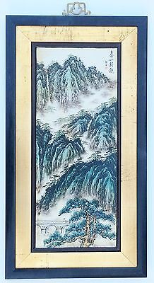 Antique Chinese Porcelain Wall Plaque & Wooden Frame Calligraphy & MARK