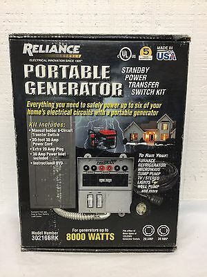 NEW Reliance Back-Up Power Transfer Switch Kit Pre-Wired 6 Circuit Kit 30216BRK
