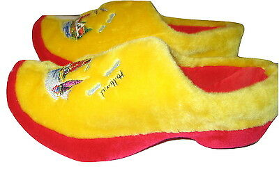 Wooden Shoe Clogs YELLOW SLIPPERS W/ FLOWERS Dutch HOLLAND MENS 8-9
