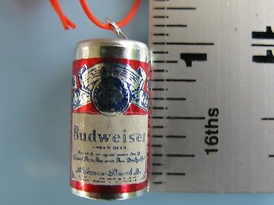 Vtg Gumball Charm 60s Miniature Budweiser Beer Tin Can Necklace Cracker Jack Toy