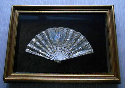 COURTING COUPLE Vintage Lace Fan in Shadowbox Frame