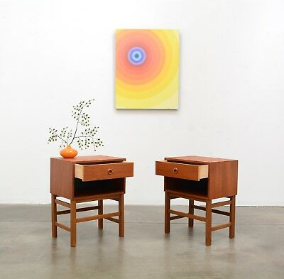 1950s Danish Modern TEAK Nightstands Side Tables Mid Century Vintage Eames Era