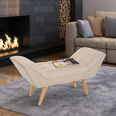 HOMCOM Chaise lounge Ottoman Deluxe Arm Linen Fabric - Cream