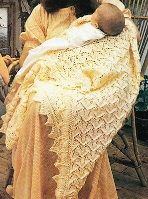 HEIRLOOM LACY SHAWL -117cm square / 4ply - COPY baby knitting pattern