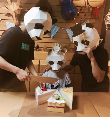 Novelty DIY Party Paper Animal Head Mask Costume Theater Cover Cosplay Halloween