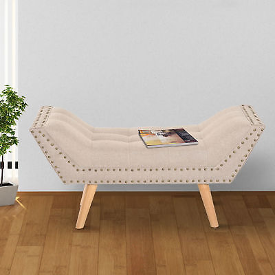 HOMCOM Chaise Longue Bed Seat Long Bench Wooden Legs Modern Couch