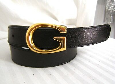 """Gucci Black Italian Leather Removeable Gold Tone 'G' Buckle Belt  26"""" - 28.5"""""""