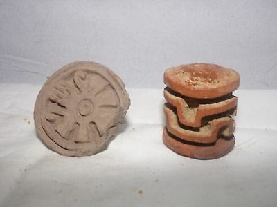 2 PCS PRE COLUMBIAN POTTERY-OLMEC POTTERY SEAL-2 INCH-ROLLING SEAL?-MEXICO-#b