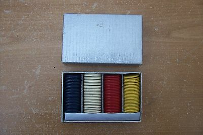 """(Ad 98) Vintage Bakelite Poker Chips Red White Blue Yellow 95 Chips 7/8"""" In Box"""
