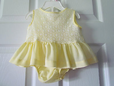 Vintage Yellow White Lace Baby Girls Dress Size 3-6 Months? Cute!!