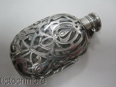 Antique Gorham Sterling Silver Repousee Scroll Design Oval Pocket Flask