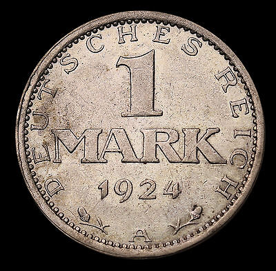 1924 A Germany - Weimar Republic Mark KM# 42 Silver Coin