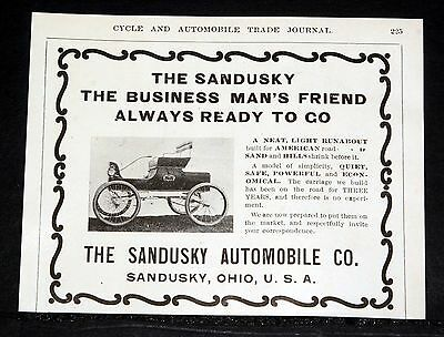 1903 Old Magazine Print Ad, The Sandusky Automobile, The Business Man's Friend!