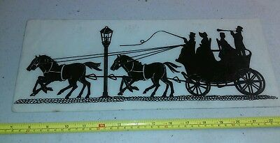 Vintage Horse and Buggy Carriage Lamp Post Scene Fiberglass Sign Rare