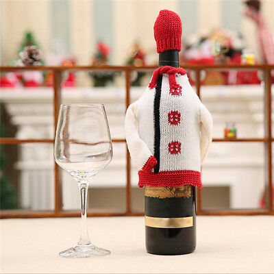 Christmas Party Red Wine Bottle Cover Cute Xmas Bar Knitted Sweater Hat Gift Bag