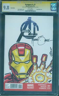 Iron Man 1 CGC SS 9.8 Mike Zeck Original art Sketch Avengers Civil War Movie