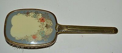 "Vintage Vanity Brass Ornate Hair Brush w/ Heart and Floral Design 9"" Rare"