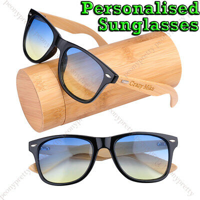 Personalised Engraving Bamboo Wood 2 tone lens Sunglasses 100% UV protection