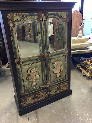 Antique Cabinet Chest Jaipur Distressed Green Mirror Eclectic Furniture Armoire