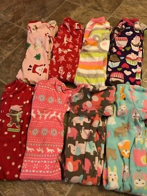 Girls Lot Of 8 Carter's Sleepers One Piece Pajamas Warm Sz 18 Months #1