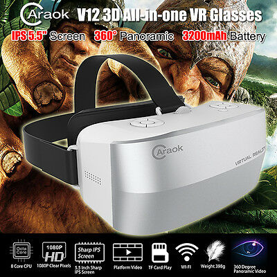 """5.5"""" IPS Screen 360° 3D VR Box Virtual Reality Goggles Glass Headset FHD 1080P"""