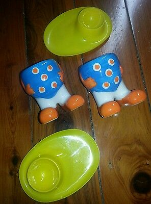 Bulk Lot X2 Sets Of Egg Cups Kitsch Vintage Retro Collectable Ceramic Plastic