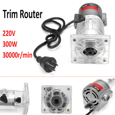 3000RPM 300W 220V Trim Router Edge Woodworking Wood Clean Cuts Power Tool Set