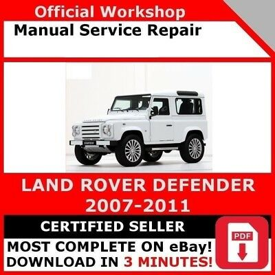 FACTORY WORKSHOP SERVICE Repair Manual Land Rover Defender 2007-2011 - EUR  14,03 | PicClick FR