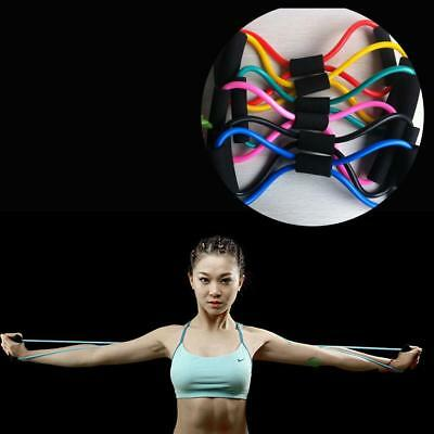 Fitness Exercise Yoga 8 Shaped Pull Rope Tube Resistance Tool Gym Bands 6A