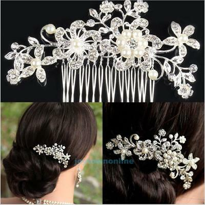 Bridal Prom Wedding Flower Prom Crystal Rhinestone Hair Comb Pin Clip Diamante