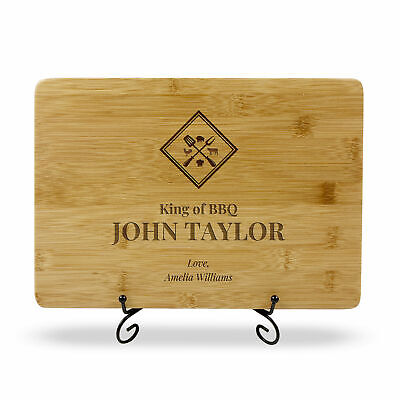Personalised Fathers Day Gift Engraved Chopping Board for Barbeque Grill Outdoor