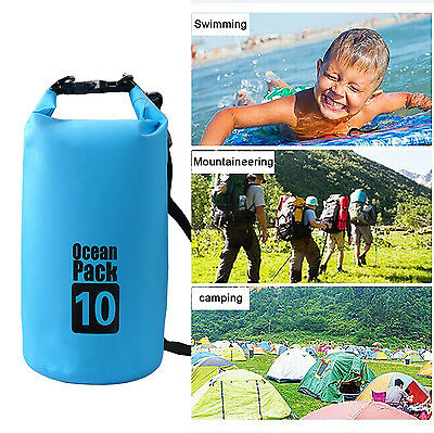 10L Waterproof Dry Bags Canoe Floating Boating Kayaking Swimming Camping Outdoor