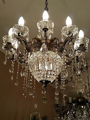 Vintage Bronze and Crystal Basket Ceiling Chandelier Very Pretty