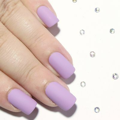 Purple Matte Short Hand Painted Press On Faux False Artificial Glue On Nails