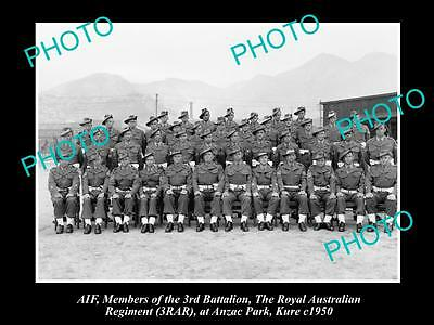 OLD LARGE HISTORICAL PHOTO OF AIF ANZACS, 3rd BATTALION ROYAL AUST REGIMENT 1950