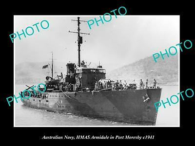 OLD LARGE HISTORIC PHOTO OF AUSTRALIAN NAVY, HMAS ARMIDALE AT PORT MORESBY c1941