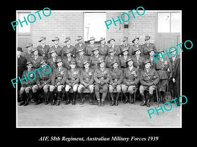 OLD LARGE HISTORICAL PHOTO OF AIF ANZACS GROUP SHOT OF 58th REGIMENT c1939