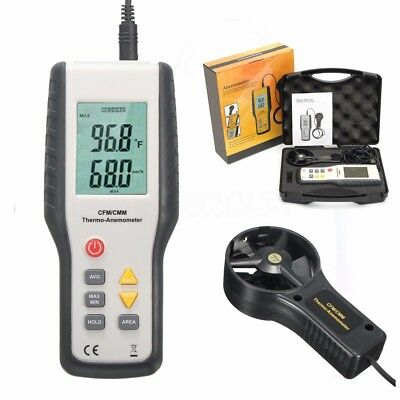 LCD Thermo Thermal Anemometer CFM CMM Wind Speed Meter Air Flow Velocity Tester