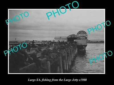 OLD LARGE HISTORIC PHOTO OF LARGS BAY, ADELAIDE, FISHING FROM THE JETTY c1900 1