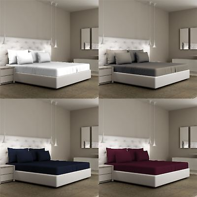 200TC Luxury 100% Egyptian Cotton Bed Sheet Extra Deep Fitted Flat All Sizes