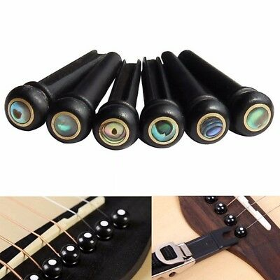 6Pcs Abalone Ebony Guitar Bridge Bone Pins Set For Acoustic Guitar  AU