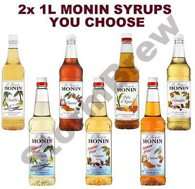 2x MONIN COFFEE SYRUP 1L PLASTIC BOTTLES: YOU CHOOSE BLENDS. USED BY COSTA