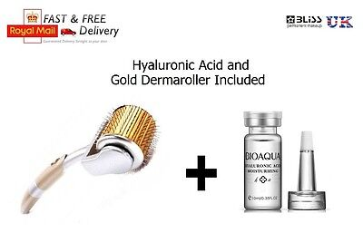 DERMAROLLER Gold Hyaluronic Serum Kit Set, Numbing, Skin Roller Anti Wrinkle
