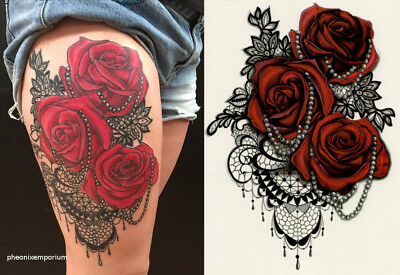 Temporary Tattoo Large Red Roses and Pearls Lace Body Art Fake Waterproof Sheet