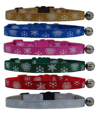 "GOLD BLUE PINK GREEN    "" CHRISTMAS SNOWFLAKE  ""  safety kitten cat collar bell"