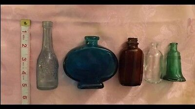 5 Vintage plus more Blue, Green Glass Mini little Collector Bottles Liberty etc