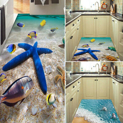 3D Beach Floor/Wall Sticker Removable Mural Decals PVC Art Living Room Decor