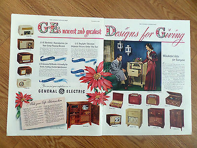 1948 GE General Electric Radios Phonographs TV Televison Ad