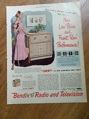 1948 1949 Bendix Radio Phonograph Ad Front Row Performance